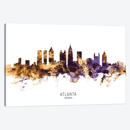 Atlanta Georgia Skyline Purple Gold Canvas Print #MTO2564} by Michael Tompsett Canvas Art