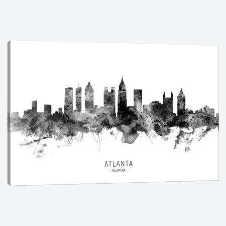 Atlanta Georgia Skyline Name Black And White Canvas Print #MTO2565} by Michael Tompsett Canvas Wall Art