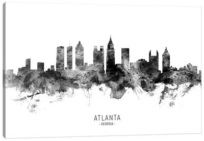 Atlanta Georgia Skyline Name Black And White Canvas Art Print