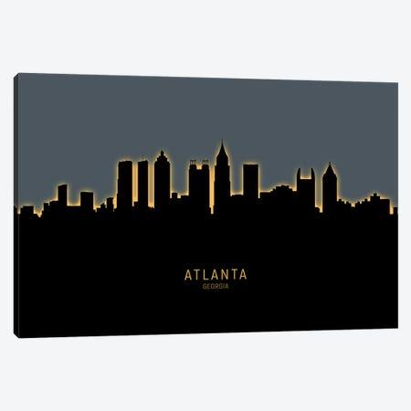 Atlanta Georgia Skyline Glow Orange Canvas Print #MTO2566} by Michael Tompsett Canvas Wall Art