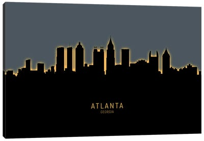 Atlanta Georgia Skyline Glow Orange Canvas Art Print