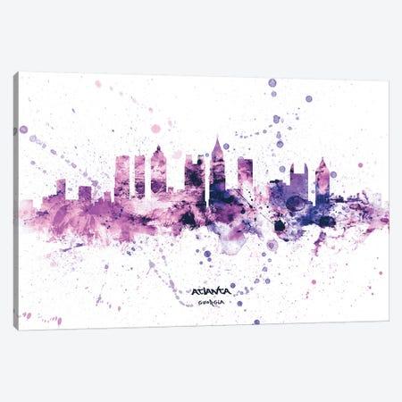 Atlanta Georgia Skyline Splash Purple Canvas Print #MTO2567} by Michael Tompsett Canvas Artwork