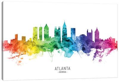 Atlanta Georgia Skyline Rainbow Canvas Art Print