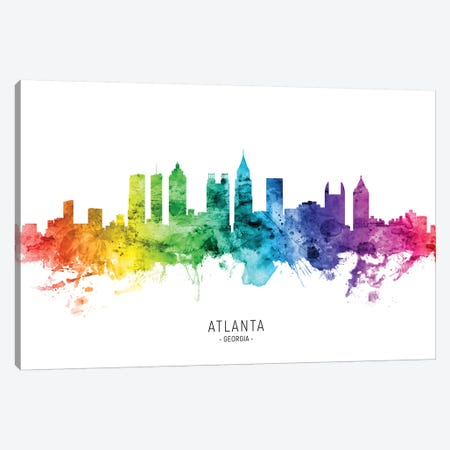 Atlanta Georgia Skyline Rainbow Canvas Print #MTO2568} by Michael Tompsett Art Print
