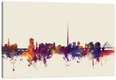 Skyline Series: Dublin, Republic Of Ireland On Beige Canvas Print #MTO256