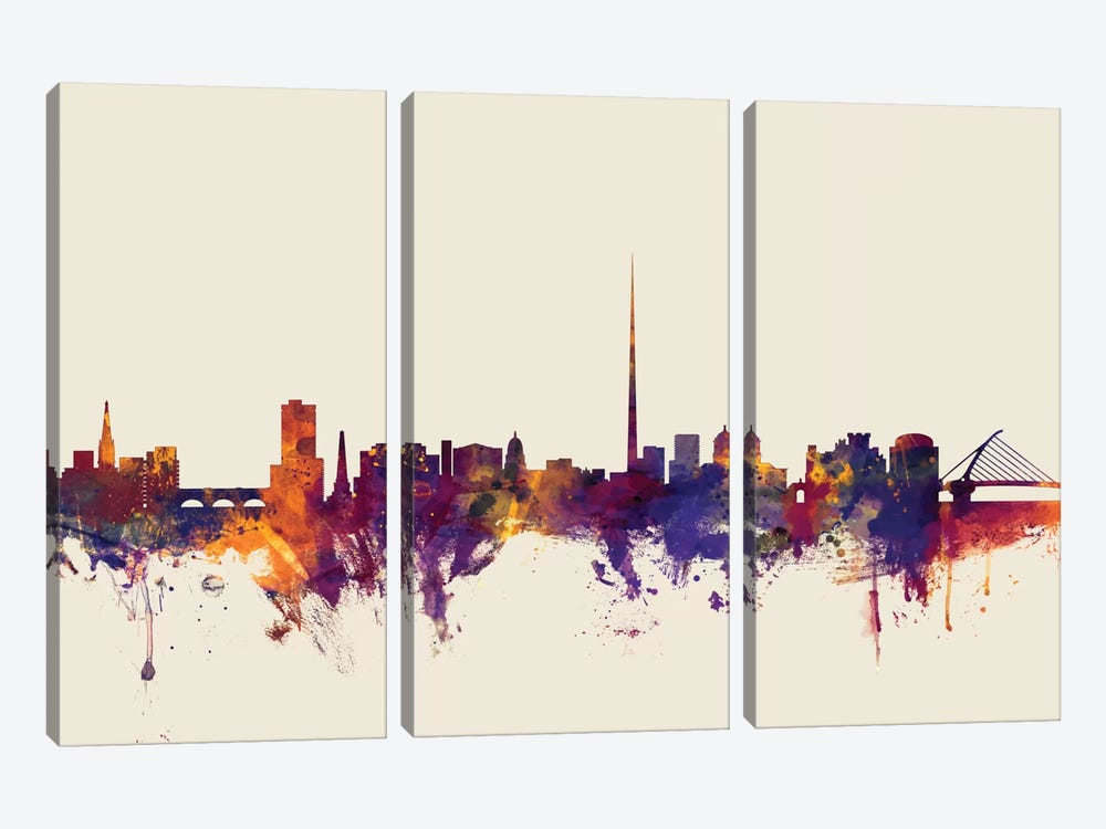 Dublin, Republic Of Ireland On Beige by Michael Tompsett 3-piece Art Print