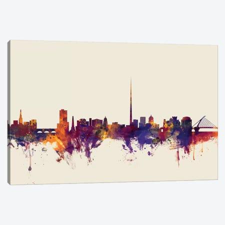 Dublin, Republic Of Ireland On Beige Canvas Print #MTO256} by Michael Tompsett Canvas Art Print