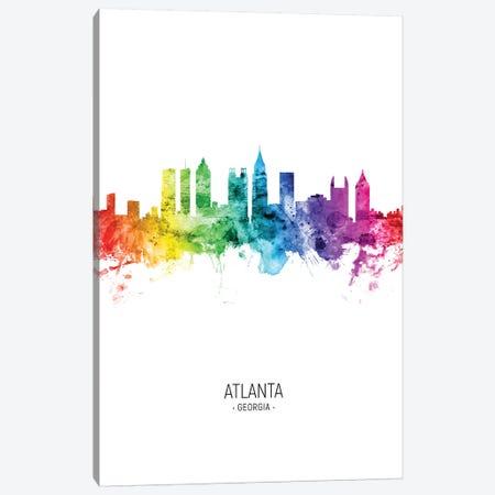 Atlanta Georgia Skyline Rainbow Tall Canvas Print #MTO2570} by Michael Tompsett Canvas Wall Art
