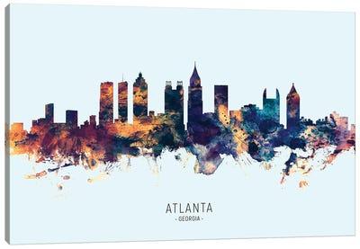 Atlanta Georgia Skyline Blue Orange Canvas Art Print
