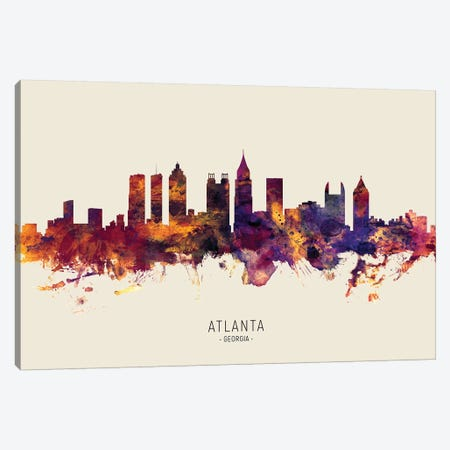 Atlanta Georgia Skyline Red Beige Canvas Print #MTO2572} by Michael Tompsett Canvas Art
