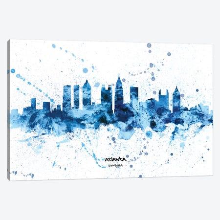 Atlanta Georgia Skyline Splash Blue Canvas Print #MTO2573} by Michael Tompsett Canvas Art