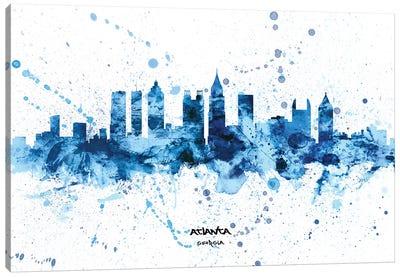 Atlanta Georgia Skyline Splash Blue Canvas Art Print