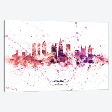 Atlanta Georgia Skyline Splash Pink Canvas Print #MTO2574} by Michael Tompsett Art Print