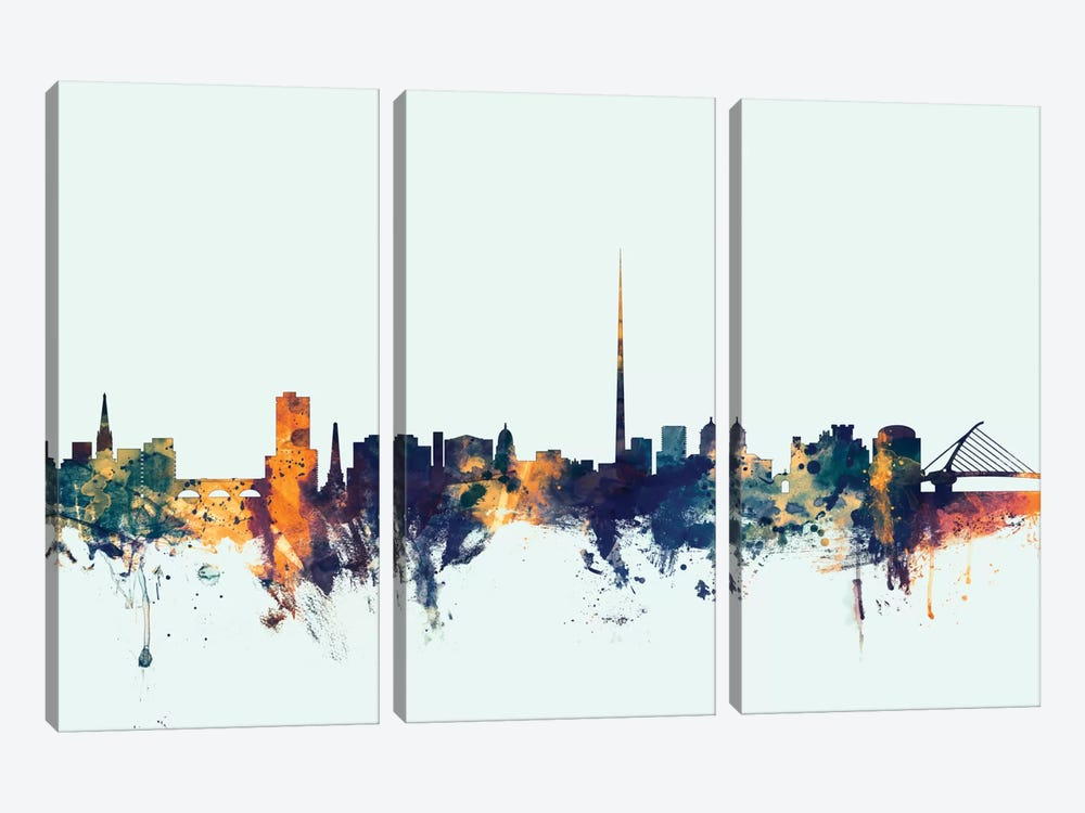 Skyline Series: Dublin, Republic Of Ireland On Blue 3-piece Canvas Art