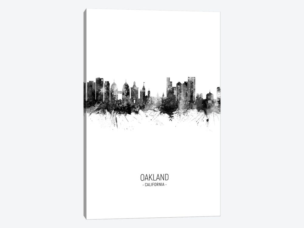 Oakland California Skyline Portrait Black And White by Michael Tompsett 1-piece Canvas Art Print
