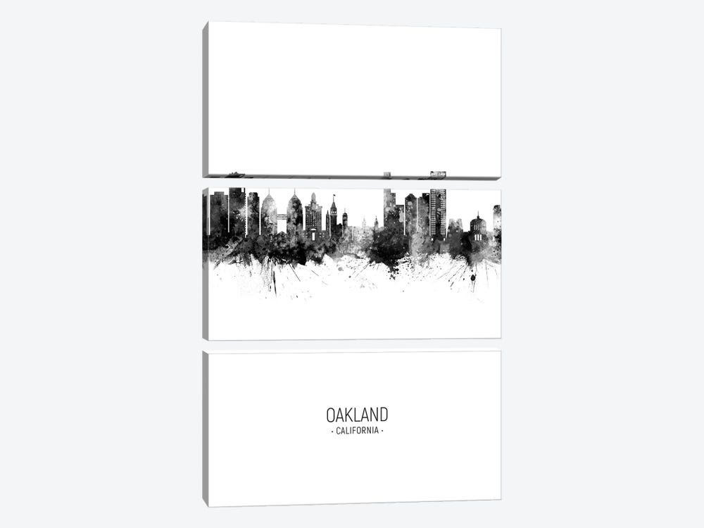 Oakland California Skyline Portrait Black And White by Michael Tompsett 3-piece Art Print