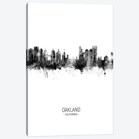 Oakland California Skyline Portrait Black And White Canvas Print #MTO2580} by Michael Tompsett Canvas Art Print