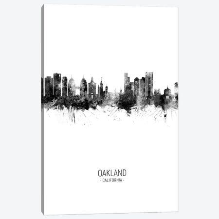 Oakland California Skyline Portrait Black And White Canvas Print #MTO2580} by Michael Tompsett Canvas Art Print