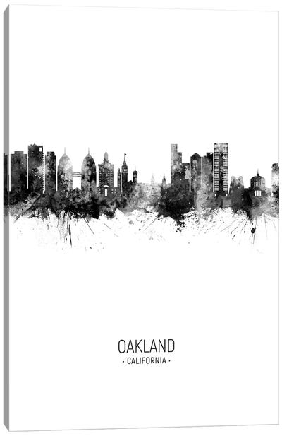 Oakland California Skyline Portrait Black And White Canvas Art Print