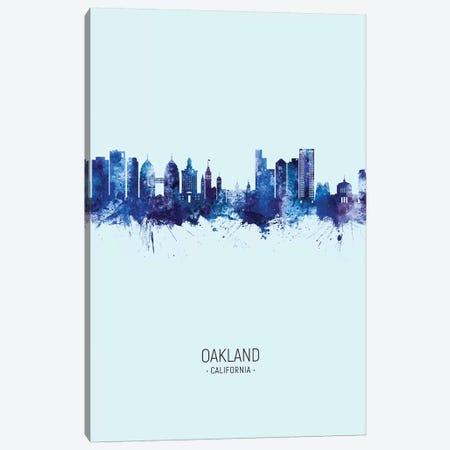 Oakland California Skyline Portrait Dark Blue Canvas Print #MTO2581} by Michael Tompsett Art Print