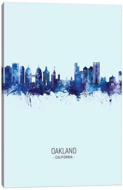 Oakland California Skyline Portrait Dark Blue Canvas Art Print