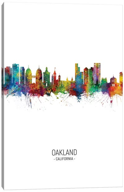 Oakland California Skyline Portrait Canvas Art Print
