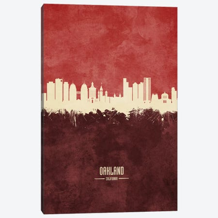 Oakland California Skyline Burgandy Canvas Print #MTO2586} by Michael Tompsett Canvas Art
