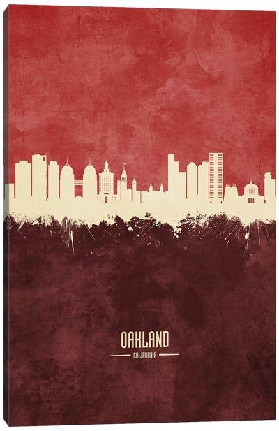 Oakland California Skyline Burgandy Canvas Art Print