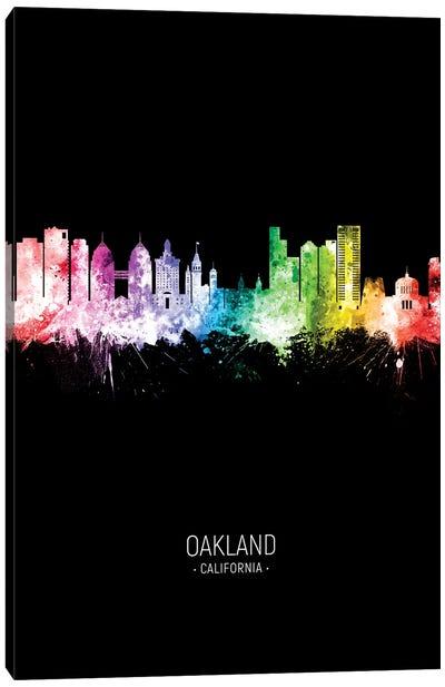 Oakland California Skyline Portrait Rainbow Black Canvas Art Print