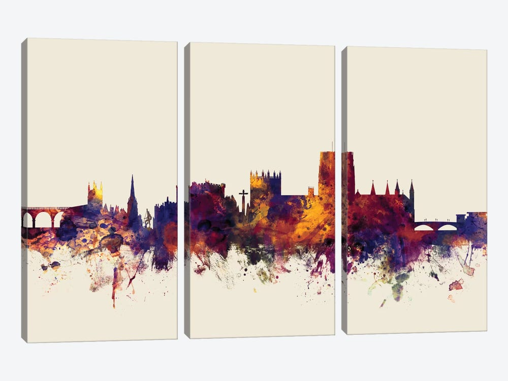Durham, England, United Kingdom On Beige by Michael Tompsett 3-piece Art Print