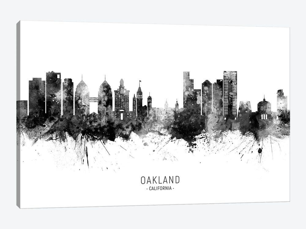 Oakland California Skyline Name Black And White by Michael Tompsett 1-piece Canvas Artwork