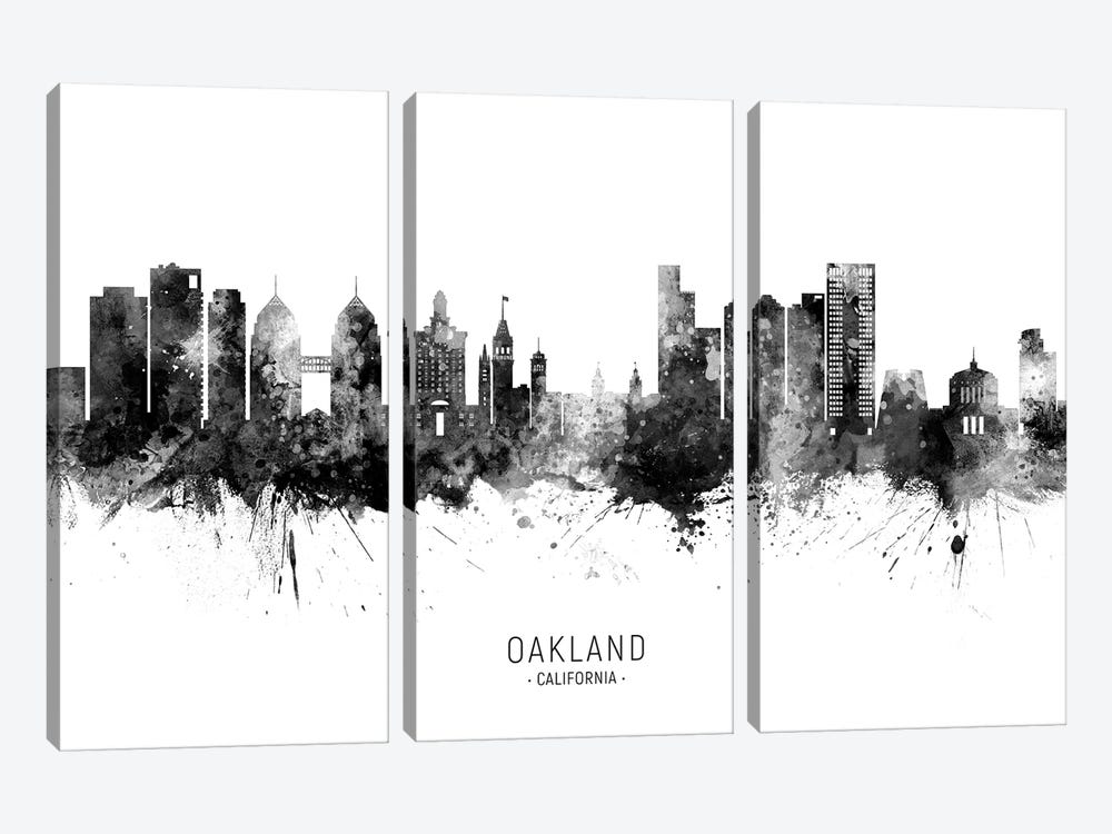 Oakland California Skyline Name Black And White by Michael Tompsett 3-piece Canvas Art