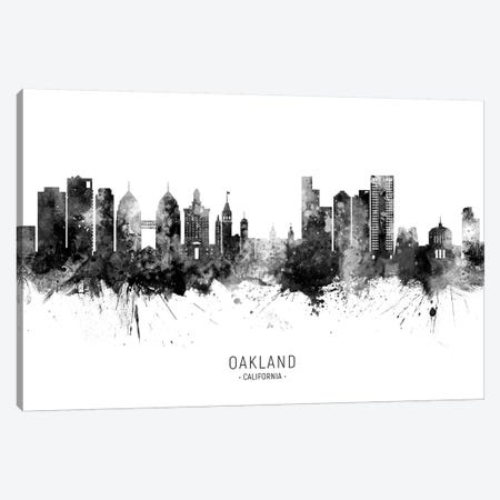 Oakland California Skyline Name Black And White Canvas Print #MTO2590} by Michael Tompsett Canvas Artwork