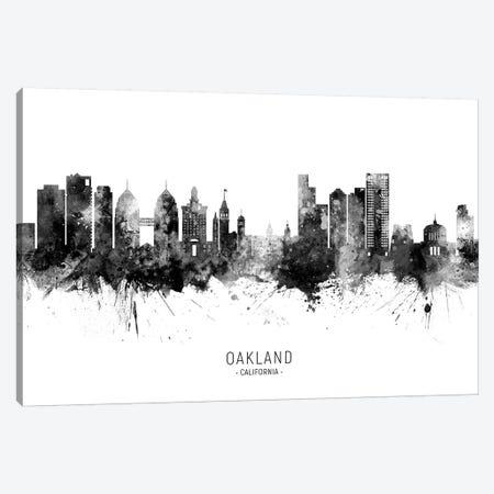 Oakland California Skyline Name Black And White Canvas Print #MTO2590} by Michael Tompsett Canvas Artwork