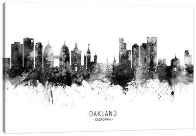 Oakland California Skyline Name Black And White Canvas Art Print