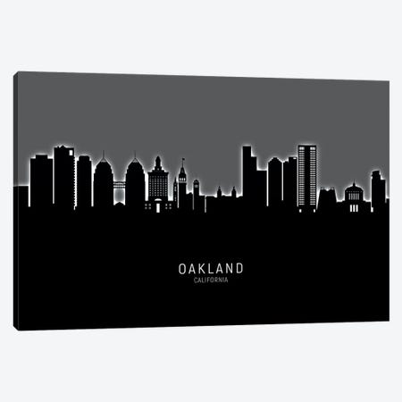 Oakland California Skyline Glow Canvas Print #MTO2591} by Michael Tompsett Canvas Artwork