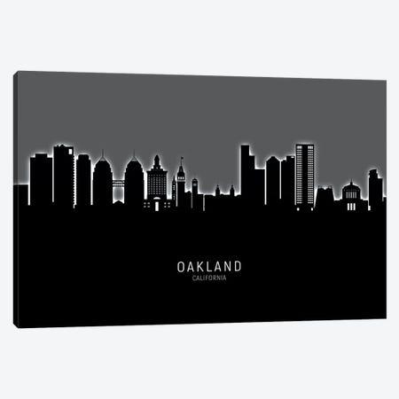 Oakland California Skyline Glow Canvas Print #MTO2591} by Michael Tompsett Canvas Artwork