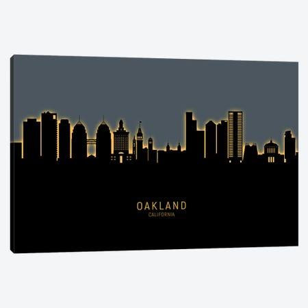 Oakland California Skyline Glow Orange Canvas Print #MTO2592} by Michael Tompsett Canvas Wall Art