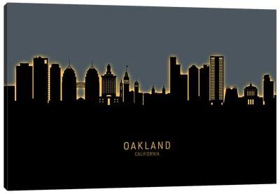Oakland California Skyline Glow Orange Canvas Art Print