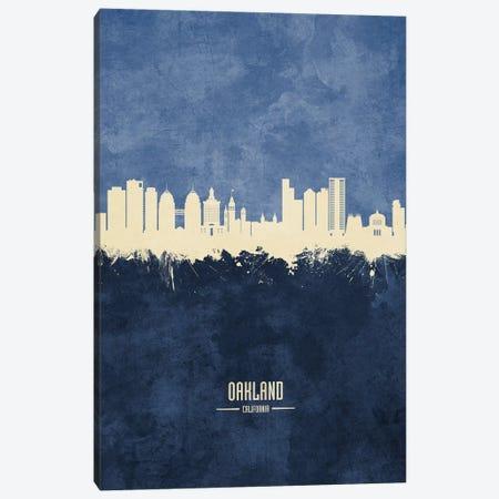 Oakland California Skyline Navy Canvas Print #MTO2593} by Michael Tompsett Canvas Artwork