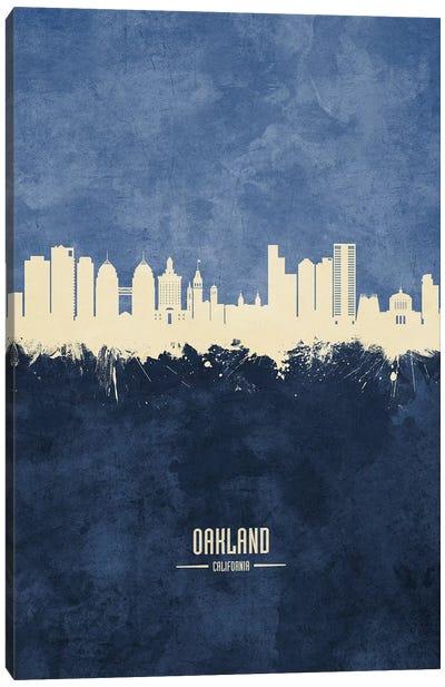 Oakland California Skyline Navy Canvas Art Print