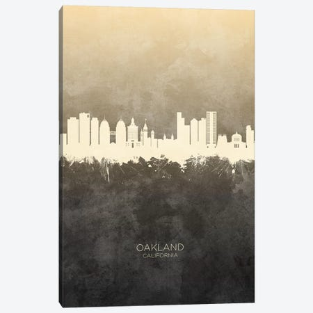 Oakland California Skyline Taupe Canvas Print #MTO2595} by Michael Tompsett Art Print