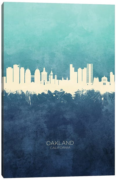 Oakland California Skyline Navy Cyan Canvas Art Print