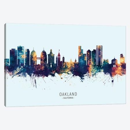 Oakland California Skyline Blue Orange Canvas Print #MTO2597} by Michael Tompsett Art Print