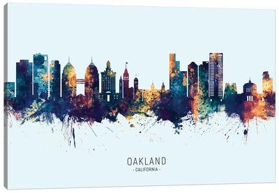 Oakland California Skyline Blue Orange Canvas Art Print