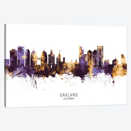 Oakland California Skyline Purple Gold Canvas Print #MTO2598} by Michael Tompsett Canvas Artwork