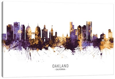 Oakland California Skyline Purple Gold Canvas Art Print