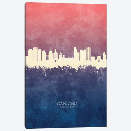 Oakland California Skyline Blue Rose Canvas Print #MTO2599} by Michael Tompsett Canvas Wall Art