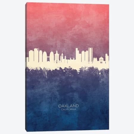 Oakland California Skyline Blue Rose Canvas Print #MTO2599} by Michael Tompsett Canvas Wall Art