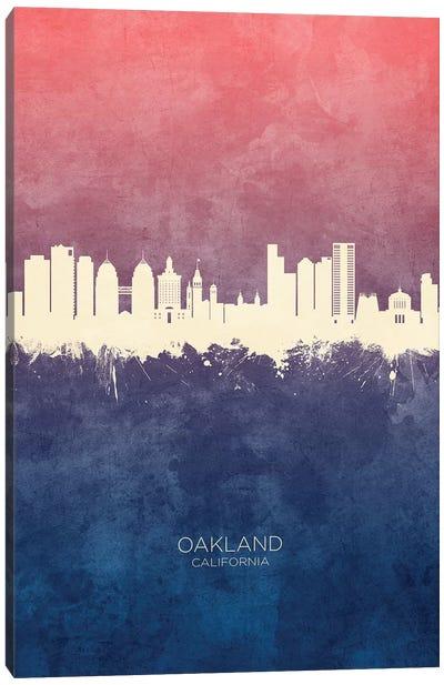 Oakland California Skyline Blue Rose Canvas Art Print